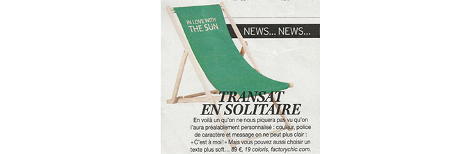 Transat personnalisable Trendy Presse Version Femina Avril 2014