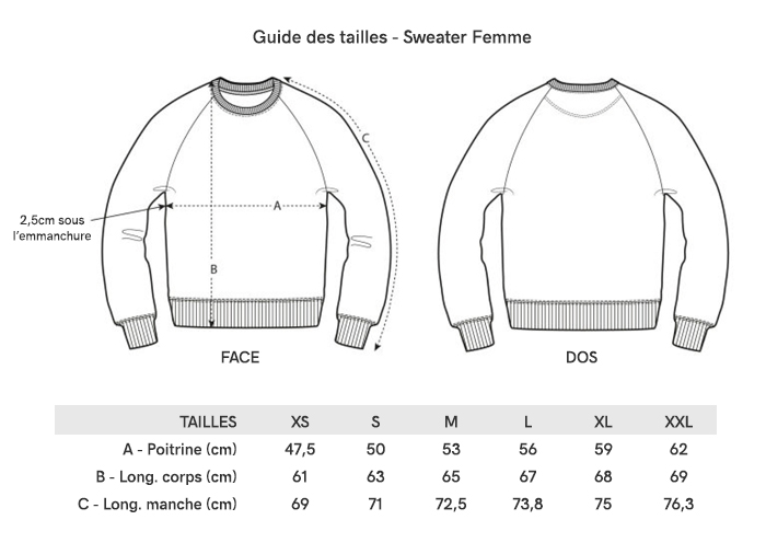 Grille Taille Sweater Femme