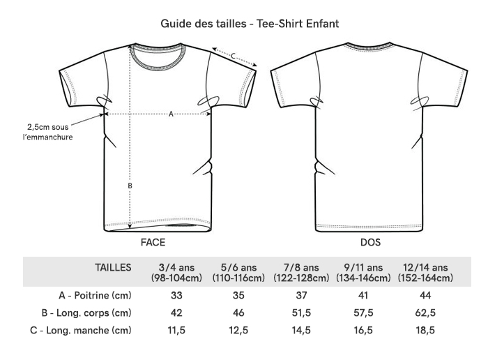 Grille Taille Tee-Shirt Enfant
